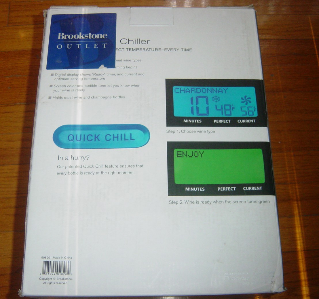 Brookstone Electronic Iceless Wine Chiller Cooler In Box
